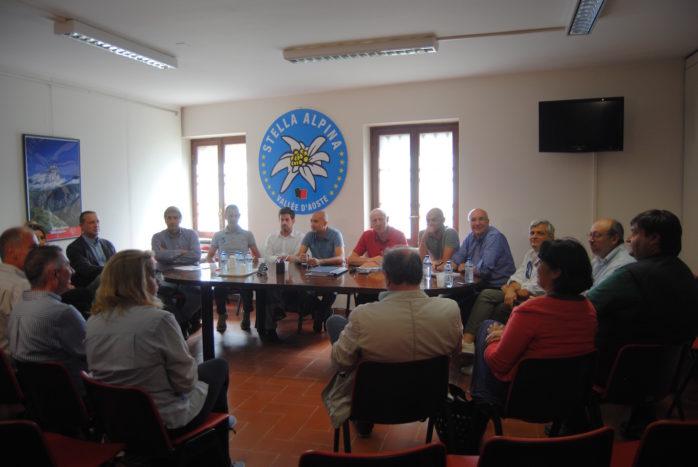 Riunione congiunta Lega Vallée d'Aoste, Stella Alpina-Area Civica-PNV, Alpe e Mouv'